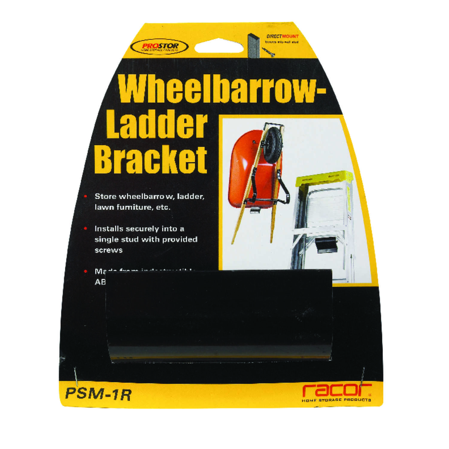 Racor  4 in. H x 4 in. W x 1-3/4 in. D Black  Steel  Wheelbarrow/Ladder Bracket