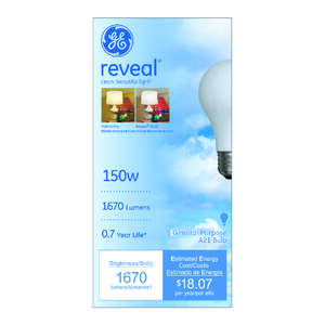 GE Lighting  Reveal  150 watts A21  Incandescent Bulb  1670 lumens Soft White  A-Line  1 pk
