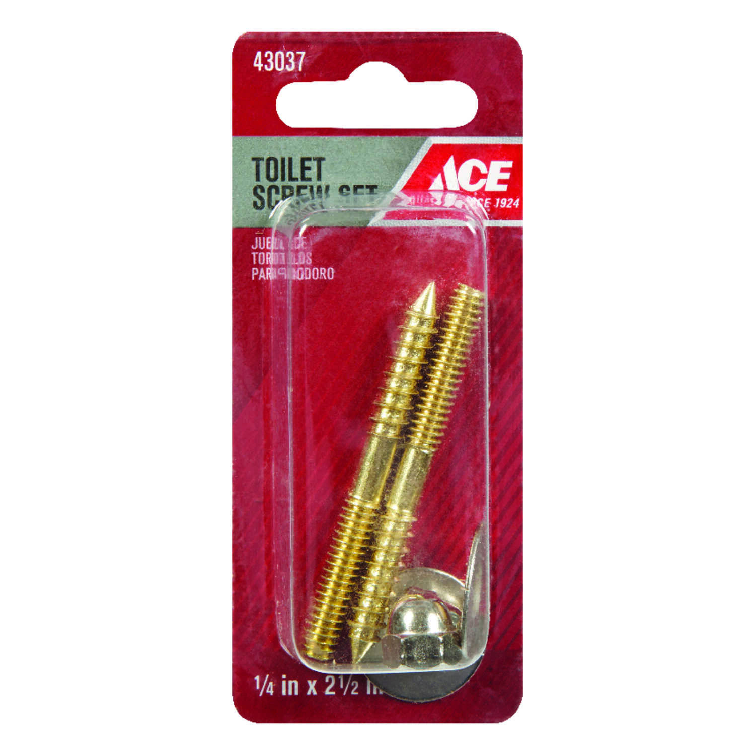 Ace  Toilet Screw Set  1/4 in. H x 2-1/2 in. L Brass