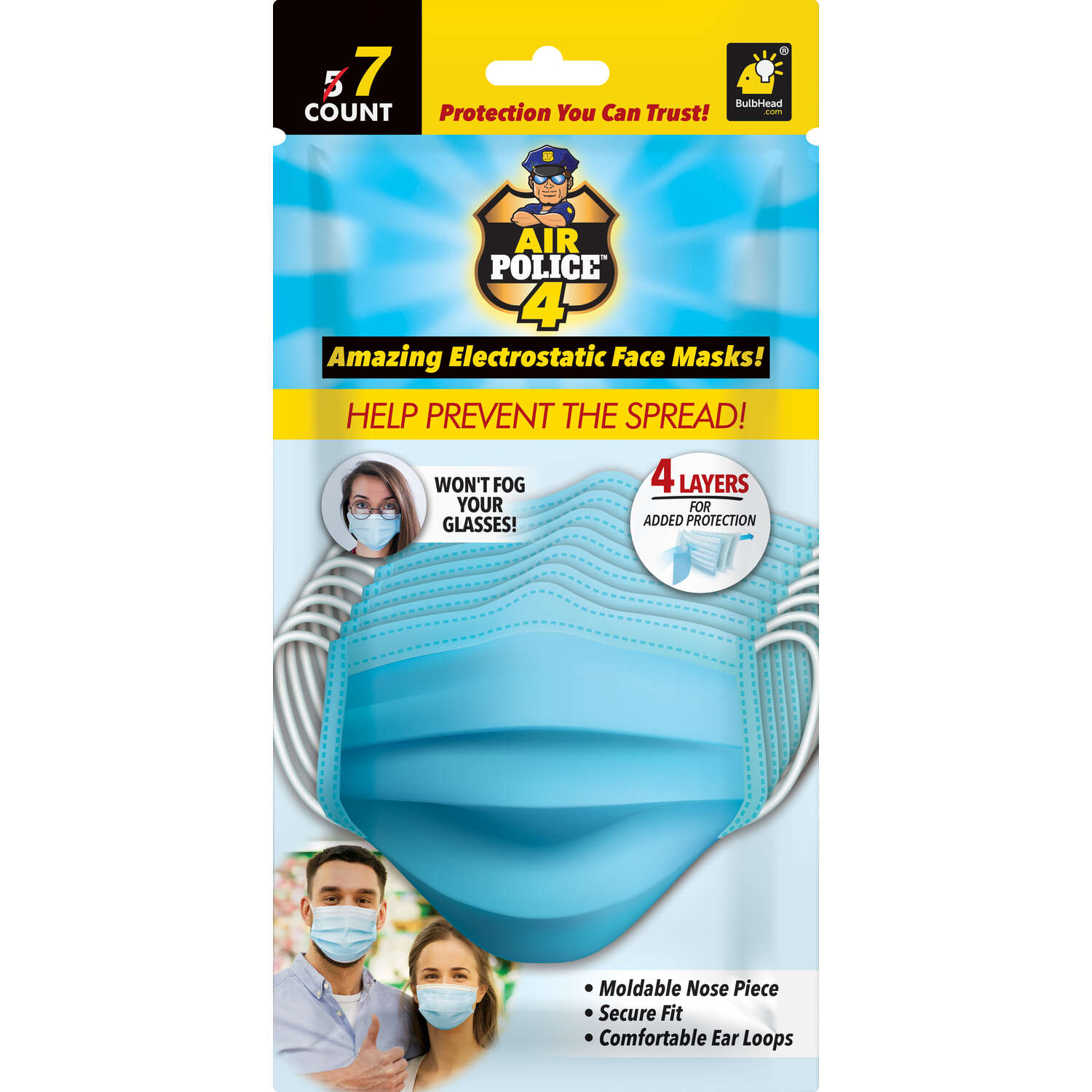 Bulbhead  Air Police 4  Full-coverage  Face Mask  7 pk