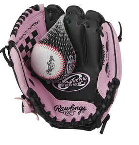 Rawlings  Player Series  Black/Pink  Vinyl  Right-handed  Baseball Glove  9 in.  1 pk