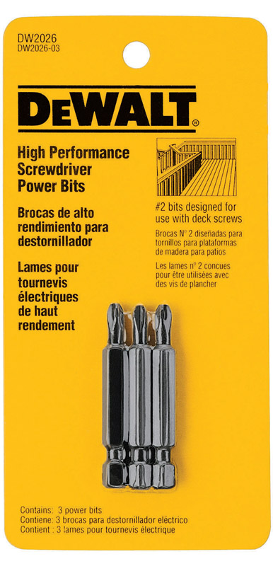 DeWalt  Phillips  #2 in.  x 2 in. L Heat-Treated Steel  1/4 in. Screwdriver Bit  3 pc.