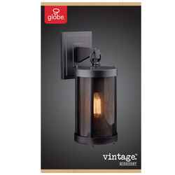 Globe Electric  Morrissey  1-Light  Natural  Black  Vintage  Wall Sconce