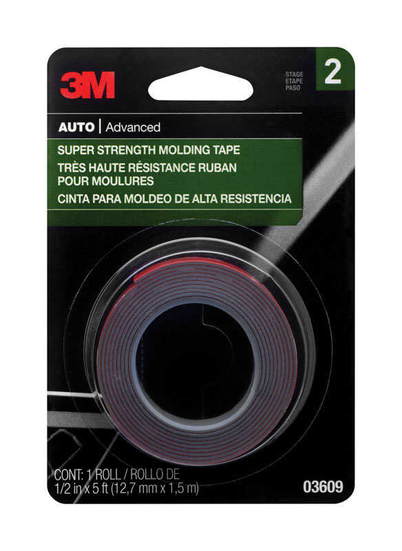 3M  1/2 in. W x 5 ft. L Molding Tape  Black/Red