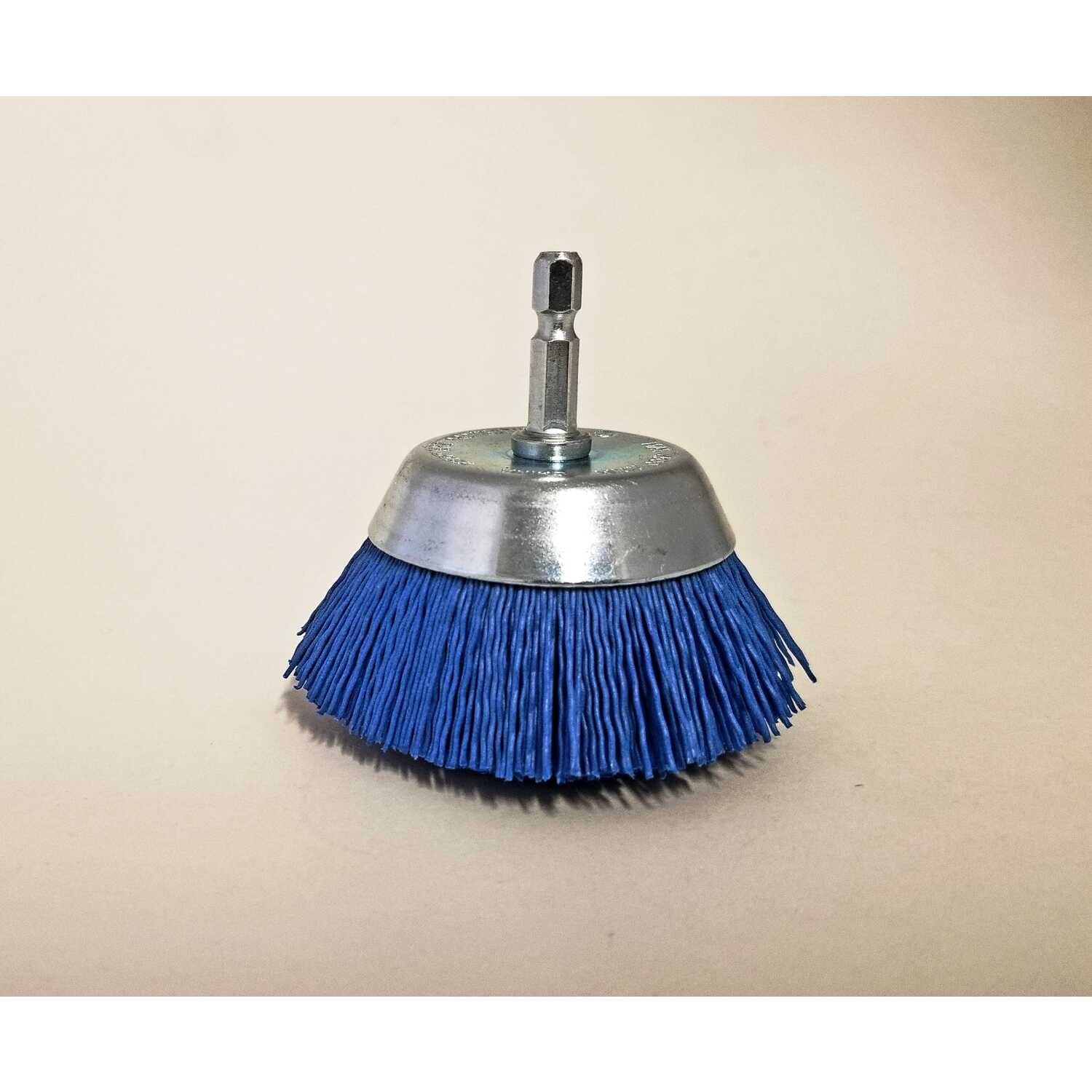Dico  NYALOX  2.5 in. Dia. x 1/4 in.  x 1/4  Dia. Crimped  Nylon  Mandrel Mounted  Cup Brush  2500 r