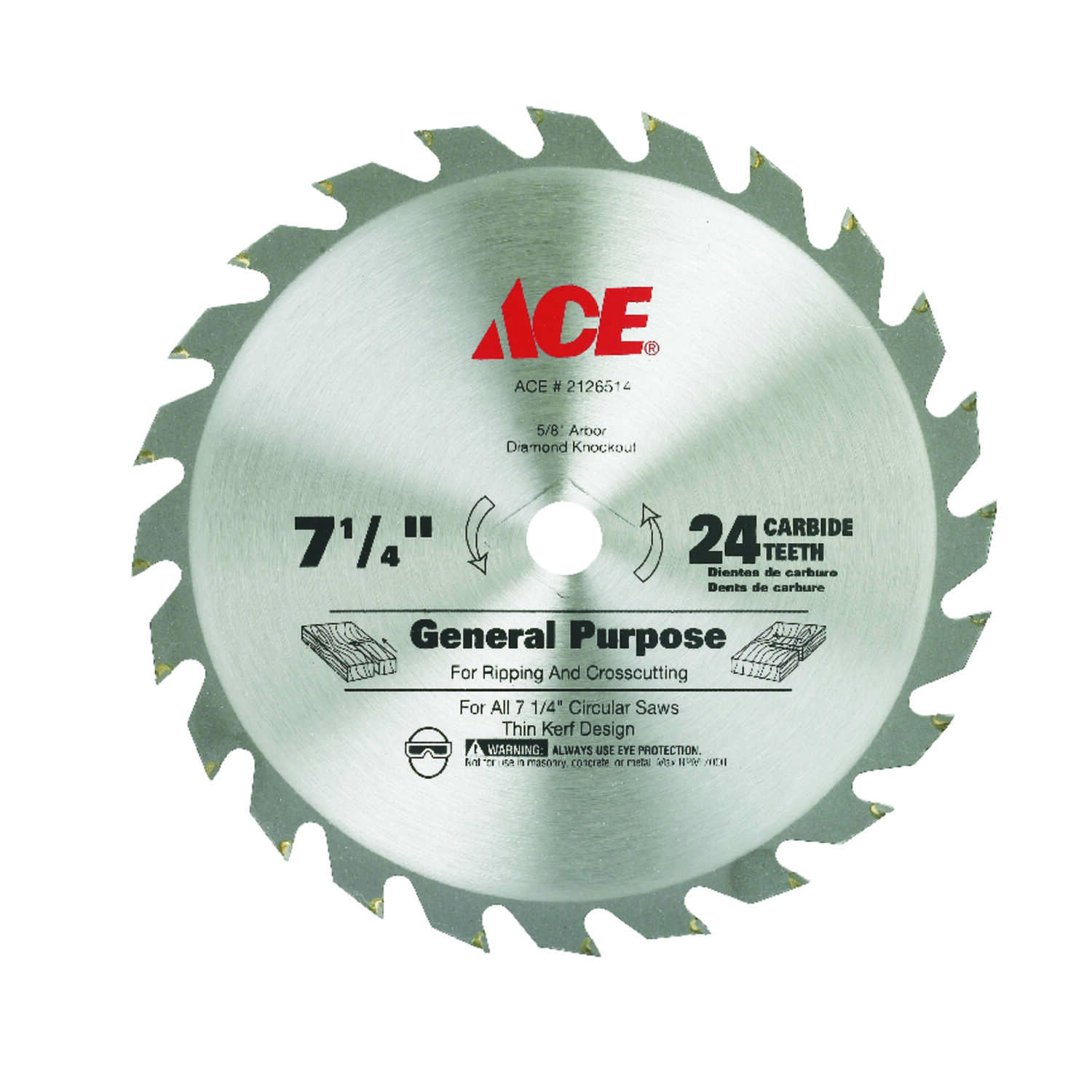 Ace  7-1/4 in. Dia. x 5/8 in.  Carbide Tipped  Circular Saw Blade  24 teeth 1 pk