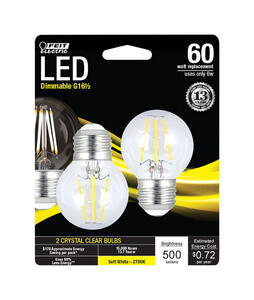 FEIT Electric  G16.5  E26 (Medium)  LED Bulb  Soft White  60 Watt Equivalence 2 pk