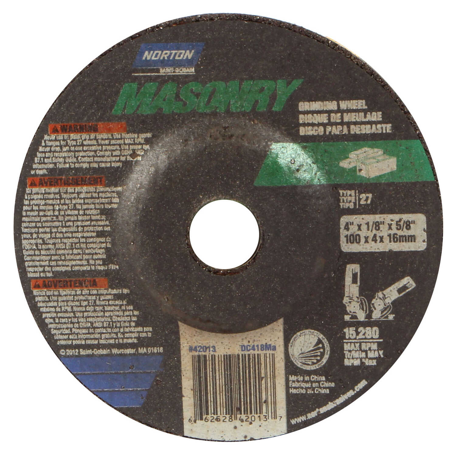 Norton  Masonry  4 in. Dia. x 1/8 in. thick  x 5/8 in.   Silicon Carbide  Grinding Wheel  15280 rpm