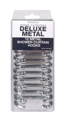 Excell Silver Metal Shower Curtain Rings 12 pk