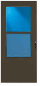LARSON  81 in. H x 36 in. W Aluminum/Wood  Brown  Mid-View  Reversible  Self-Storing Storm Door