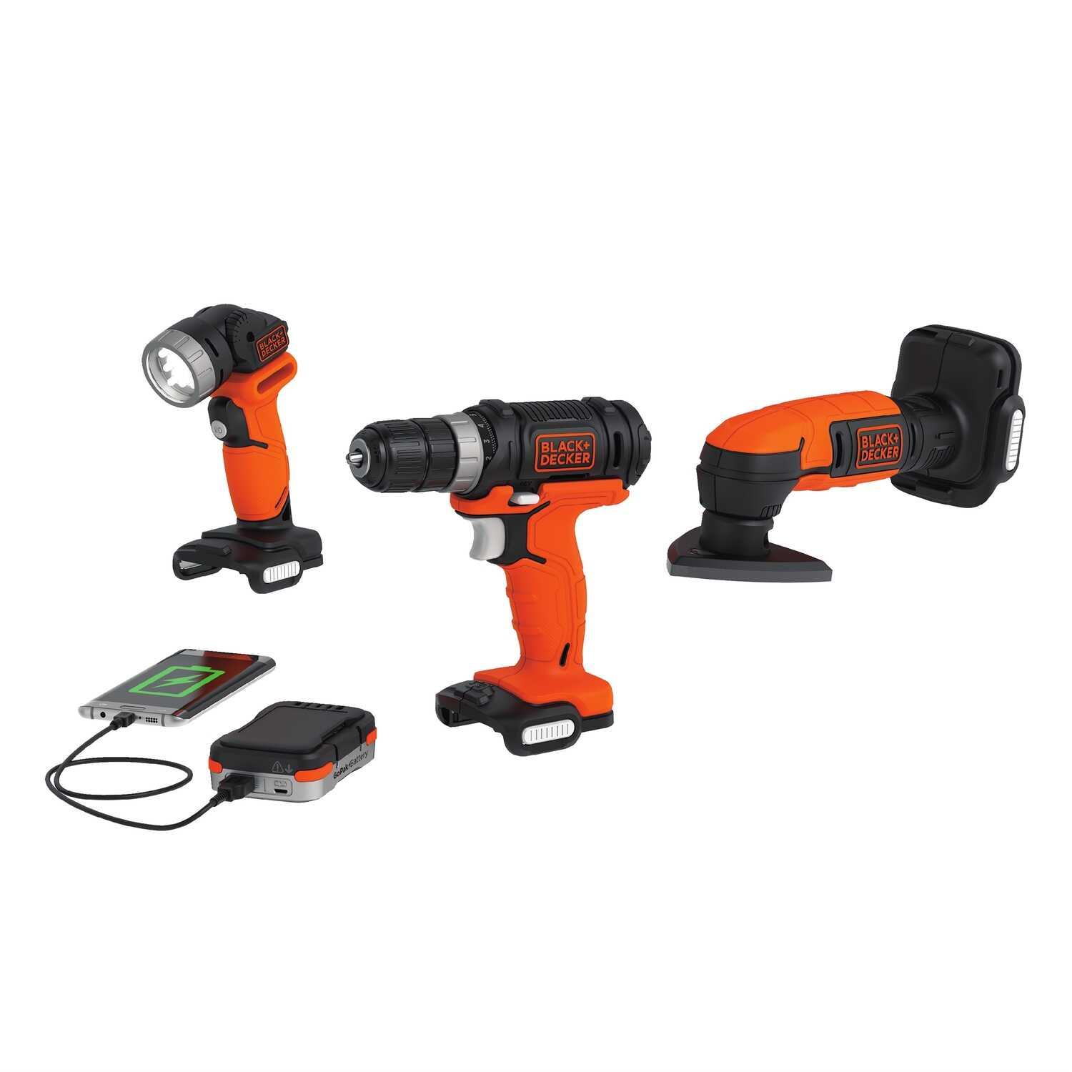 Black and Decker  GoPak  Cordless  3 tool Drill, LED Light and Sander Kit  12 volt