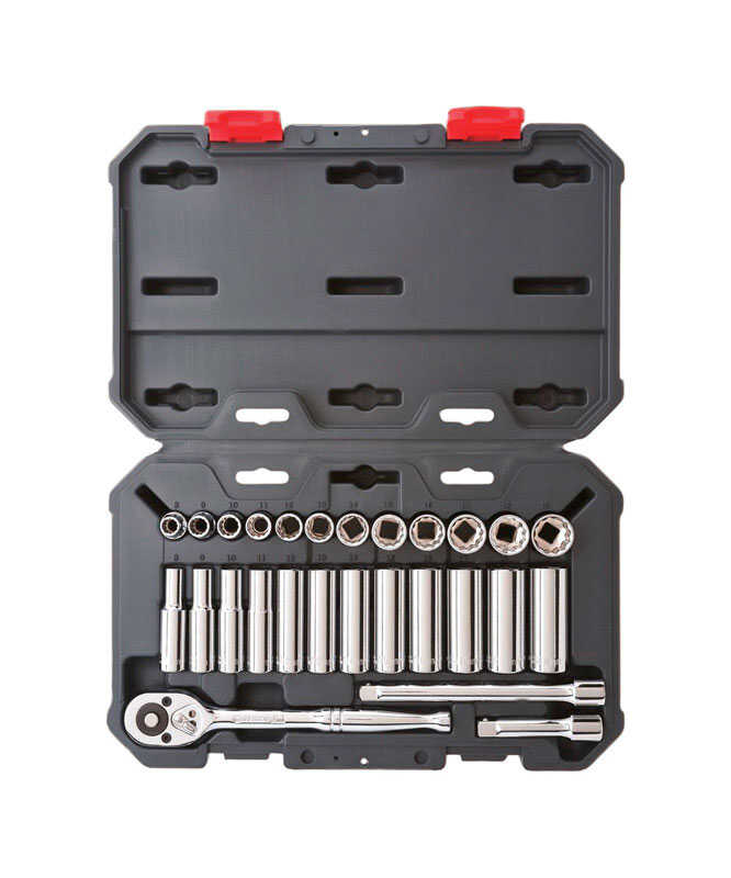Crescent  3/8 in.  Metric  6 and 12  Socket Wrench Set  27 pc.