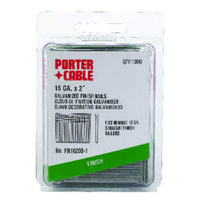 Porter Cable  16 Ga. Smooth Shank  Straight Strip  Finish Nails  2 in. L 1,000 pk