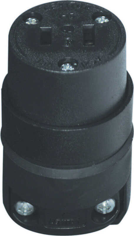 Leviton  Commercial and Residential  Rubber  Non-Grounding  Connector  1-15R  18-12 AWG 2 Pole 2 Wir