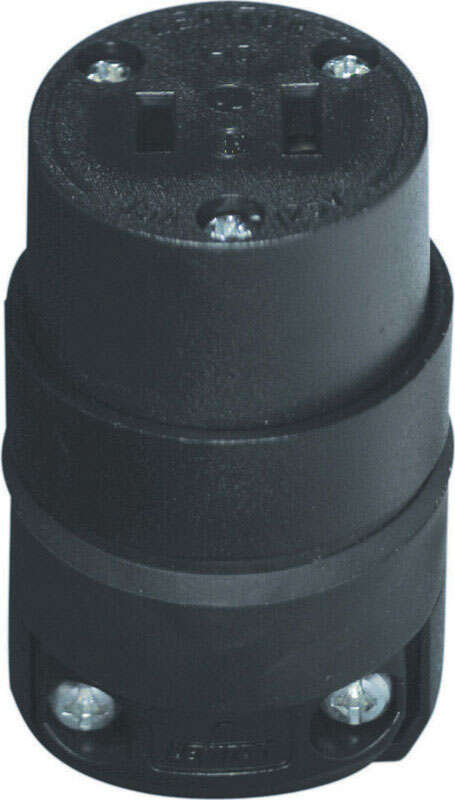 Leviton  Commercial and Residential  Rubber  Non-Polarized  Connector  1-15R  18-12 AWG 2 Pole 2 Wir