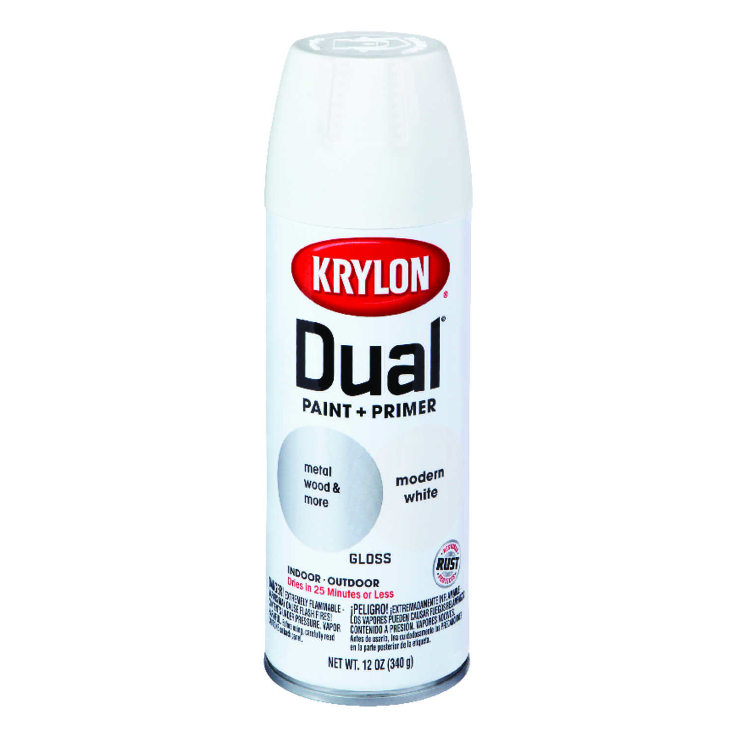 Krylon  Dual Superbond  Gloss  Paint + Primer Spray  Modern White  12 oz.