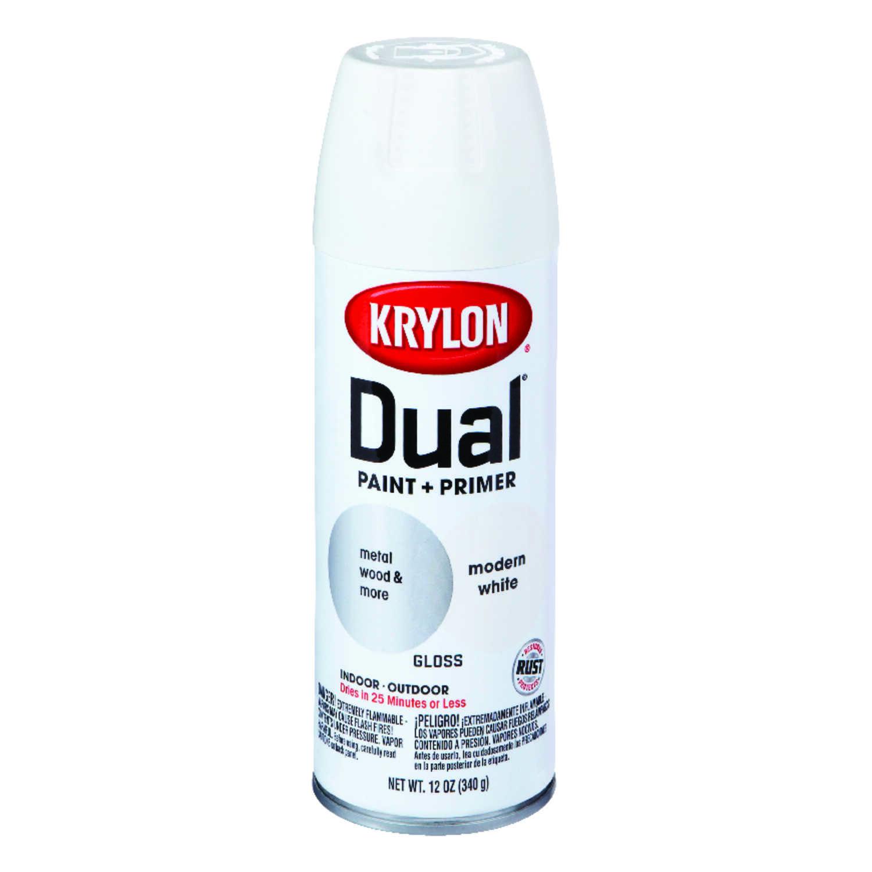 Krylon Dual Gloss Modern White Paint Primer Spray 12