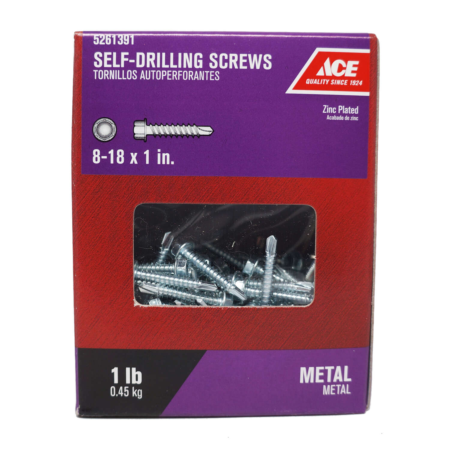 Ace No. 8-18 x 1 in. L Hex Washer Head Zinc-Plated Steel Self- Drilling Screws 1 lb.