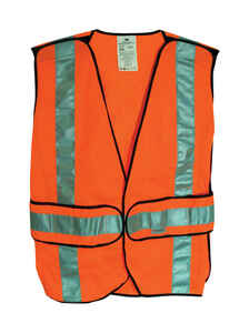 3M  Scotchlite  Reflective Polyester Mesh  Safety Vest with Reflective Stripe  Hook and Loop  Orange