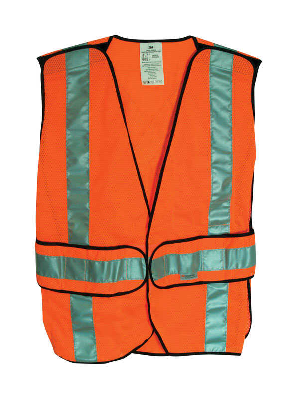 3M  Scotchlite  Reflective Safety Vest with Reflective Stripe  Velcro  Orange  One Size Fits Most  P