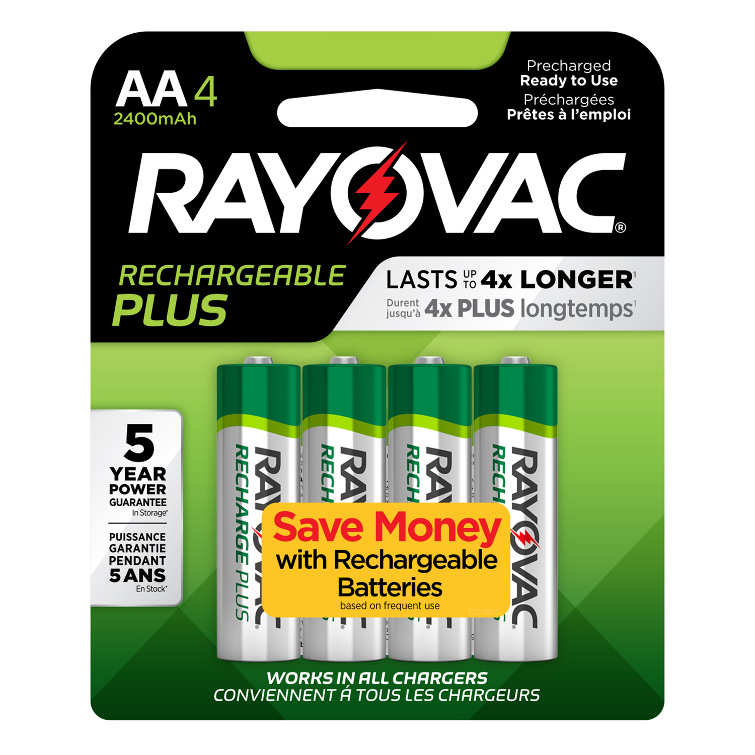 Rayovac  Platinum  NiMH  AA  Rechargeable Battery  PL715-4B  4