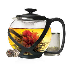 Primula  Tempo Round  Black  Glass  40 ounce  Teapot