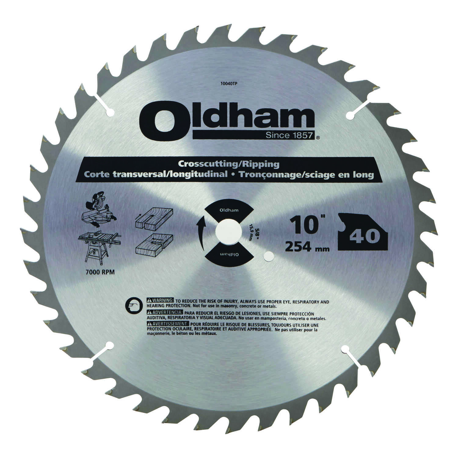 Oldham  10 in. Dia. x 5/8 in.  Carbide Tipped  Circular Saw Blade  40 teeth 1 pk