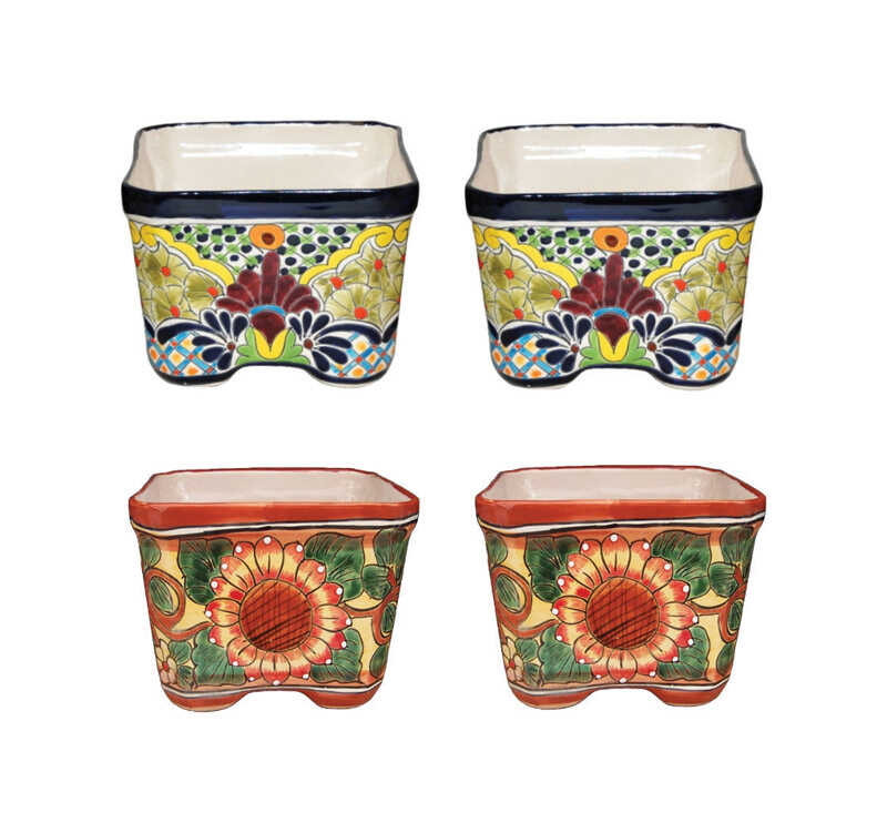 Avera Products  Talavera  6 in. H x 8 in. W Multicolored  Ceramic  Talavera  Planter Set