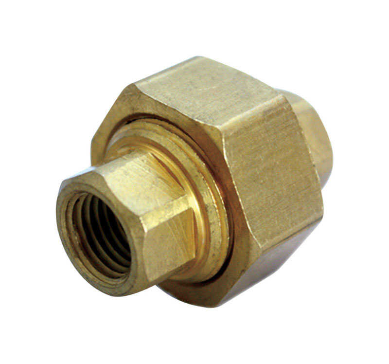 Ace  1/8 in. Dia. x 1/8 in. Dia. FPT To Compression To Compression  Yellow Brass  Union