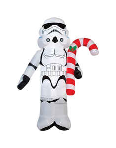 Gemmy  Star Wars Stormtrooper Holding Candy Cane  Christmas Inflatable  White/Black  Fabric  1 pk