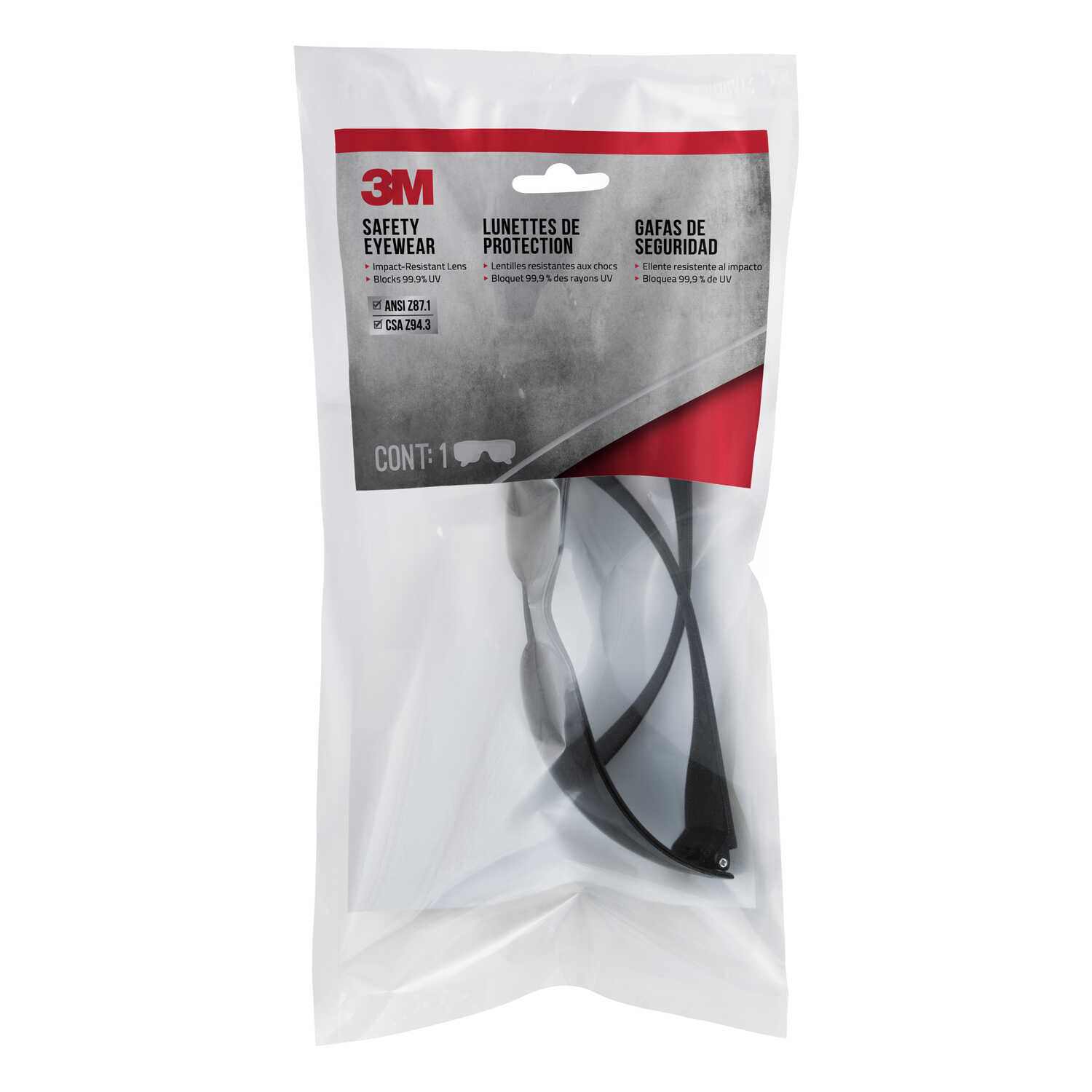 3M  Safety Glasses  Gray Lens Gray Frame 1 pc.