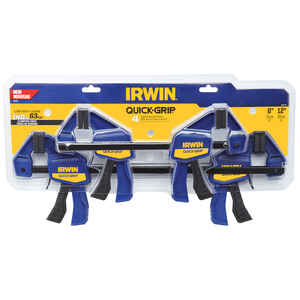 Irwin  Quick-Grip  6 and 12 in.  x 3 in. D Mini  Resin  Quick-Release Bar Clamp  140 lb. 4 pk