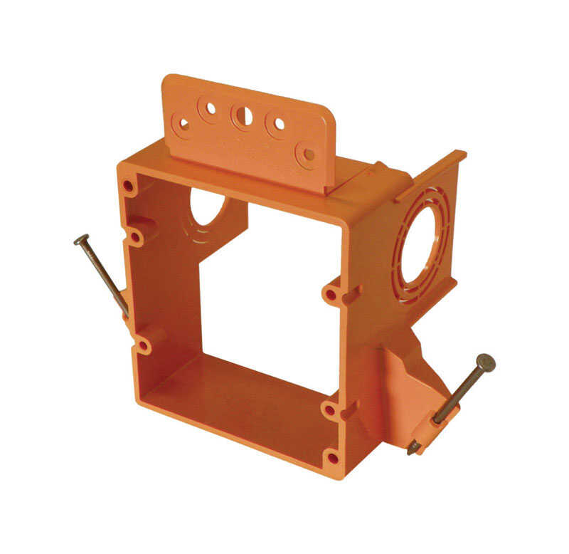 Cantex  3-1/4 in. Square  PVC  2 gang Junction Box  Orange  2 Gang