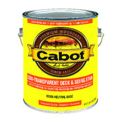 Cabot  Semi-Transparent  Tintable Neutral Base  Penetrating Oil  Deck and Siding Stain  1 gal.
