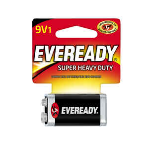 Eveready  Super Heavy Duty  9-Volt  Zinc Carbon  Batteries  1 pk Carded