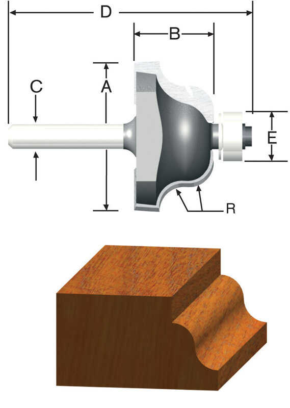 Vermont American  1-1/2 in. Dia. x 1/4 in.  x 2-3/8 in. L Carbide Tipped  Roman Ogee  Router Bit