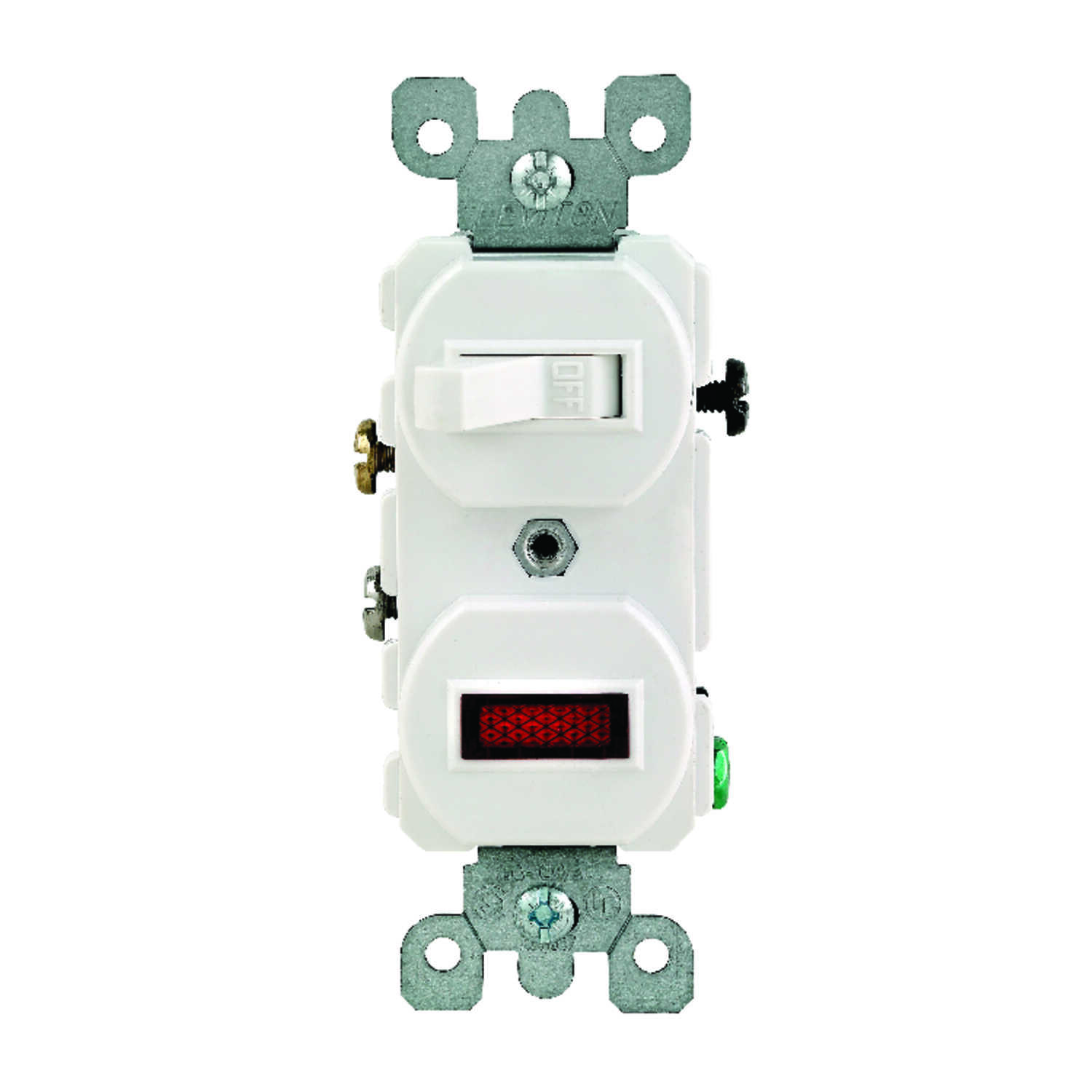 Leviton  15 amps Combination  Switch  1 pk White  15 amps