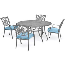 Hanover  Traditions  5 pc. Gray  Aluminum  Dining Set  Blue