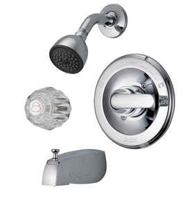 Delta  Tub and Shower Faucet  1 Knob & Lever  Classic  Chrome Finish Brass Material