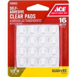 Ace  Vinyl  Self Adhesive Protective Pads  Clear  Round  1/2 in. W 16 pk