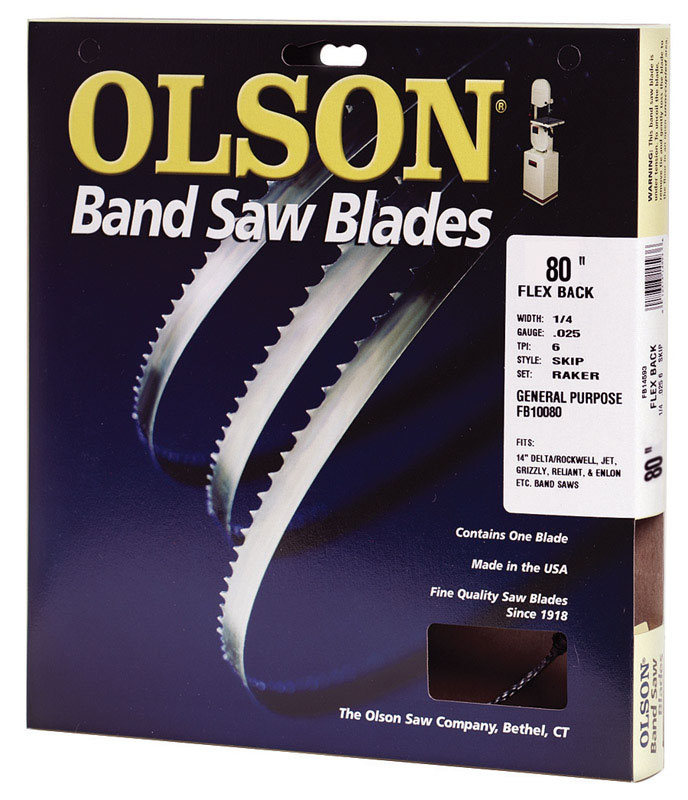 Olson  0.025 in.  x 0.2 in. W x 80  L Band Saw Blade  10 TPI Regular  1 pk Carbon Steel