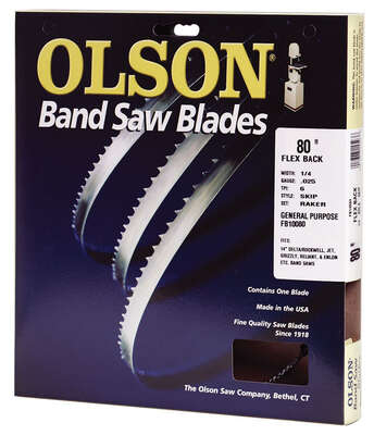 Olson  80 in. L x 0.2 in. W x 0.025 in. thick  Carbon Steel  Band Saw Blade  10 TPI Regular teeth 1