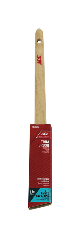 Ace  1 in. W Medium Stiff  Polyester  Trim Paint Brush  Angle