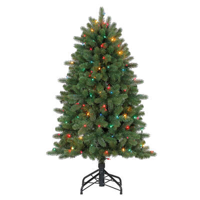 Celebrations  4 ft. Full  Prelit Incandescent  150 count Grande Fir  Color Changing Christmas Tree