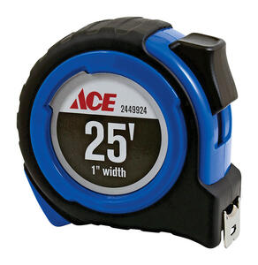 Ace  25 ft. L x 1 in. W Engineer's Tape Measure  Black  1 pk