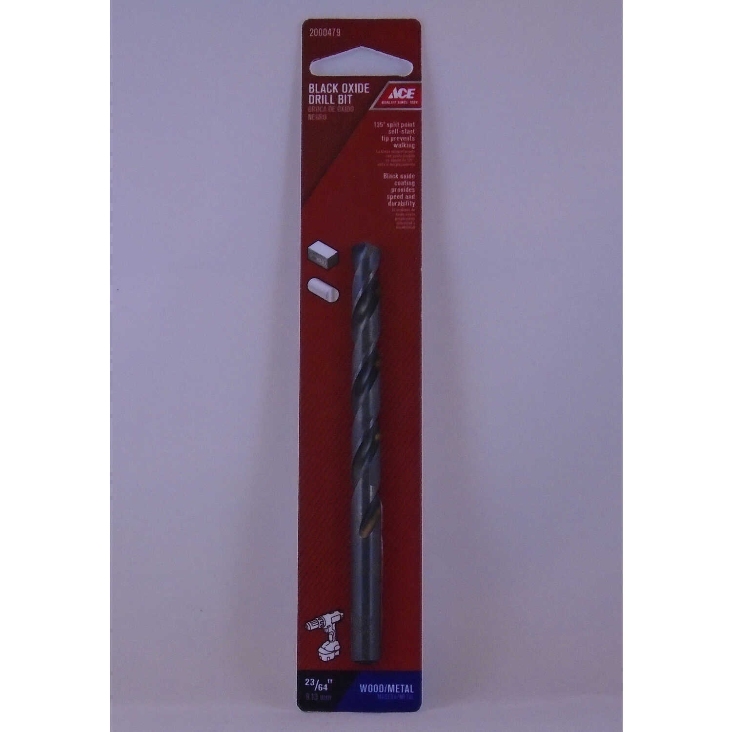 Ace  23/64 in. Dia. x 4-7/8 in. L High Speed Steel  Drill Bit  Round Shank  1 pc.
