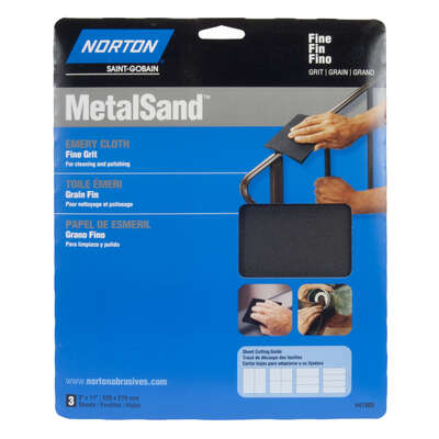 Norton  MetalSand  11 in. L x 9 in. W 150 Grit Emery Cloth  3 pk