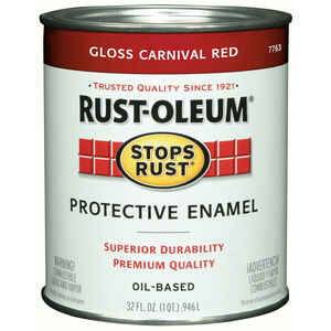 Rust-Oleum  Gloss  Carnival Red  Oil-Based  Protective Enamel  Indoor and Outdoor  1 qt.