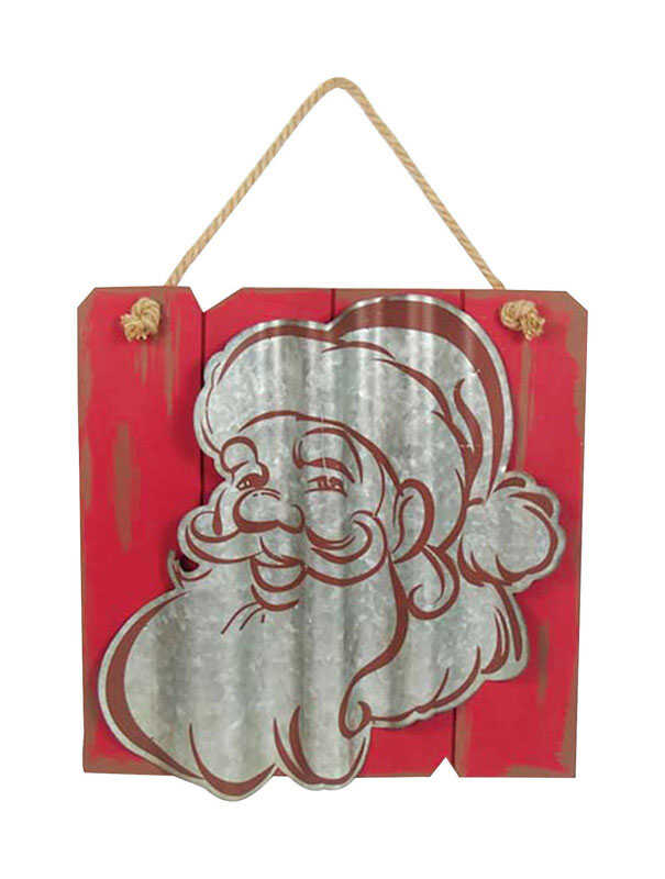 Celebrations  Santa  Wall Art  Red/White  Wood, Metal  1 pk