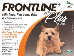 Frontline  Plus  Liquid  Dog  Flea and Tick Drops  9.8% Fibronil, 8.8% (S)-methoprene  0.02 oz.